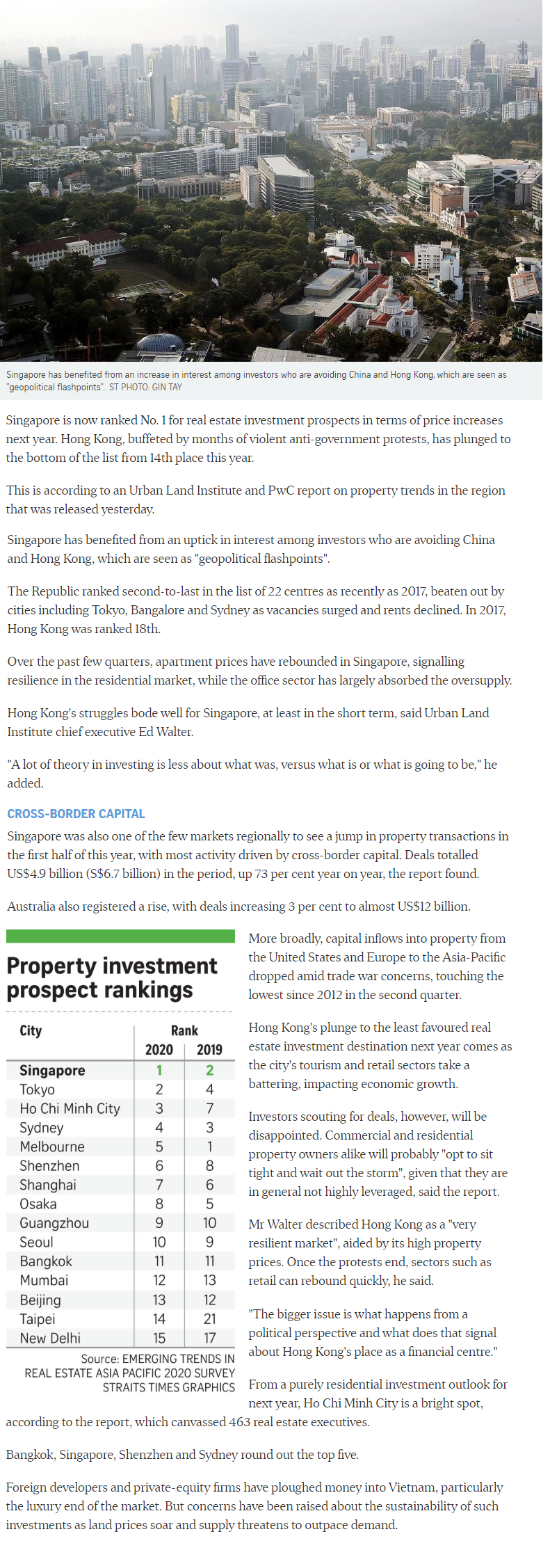 Midtown Modern - Singapore Tops Region For Property Investment Prospects
