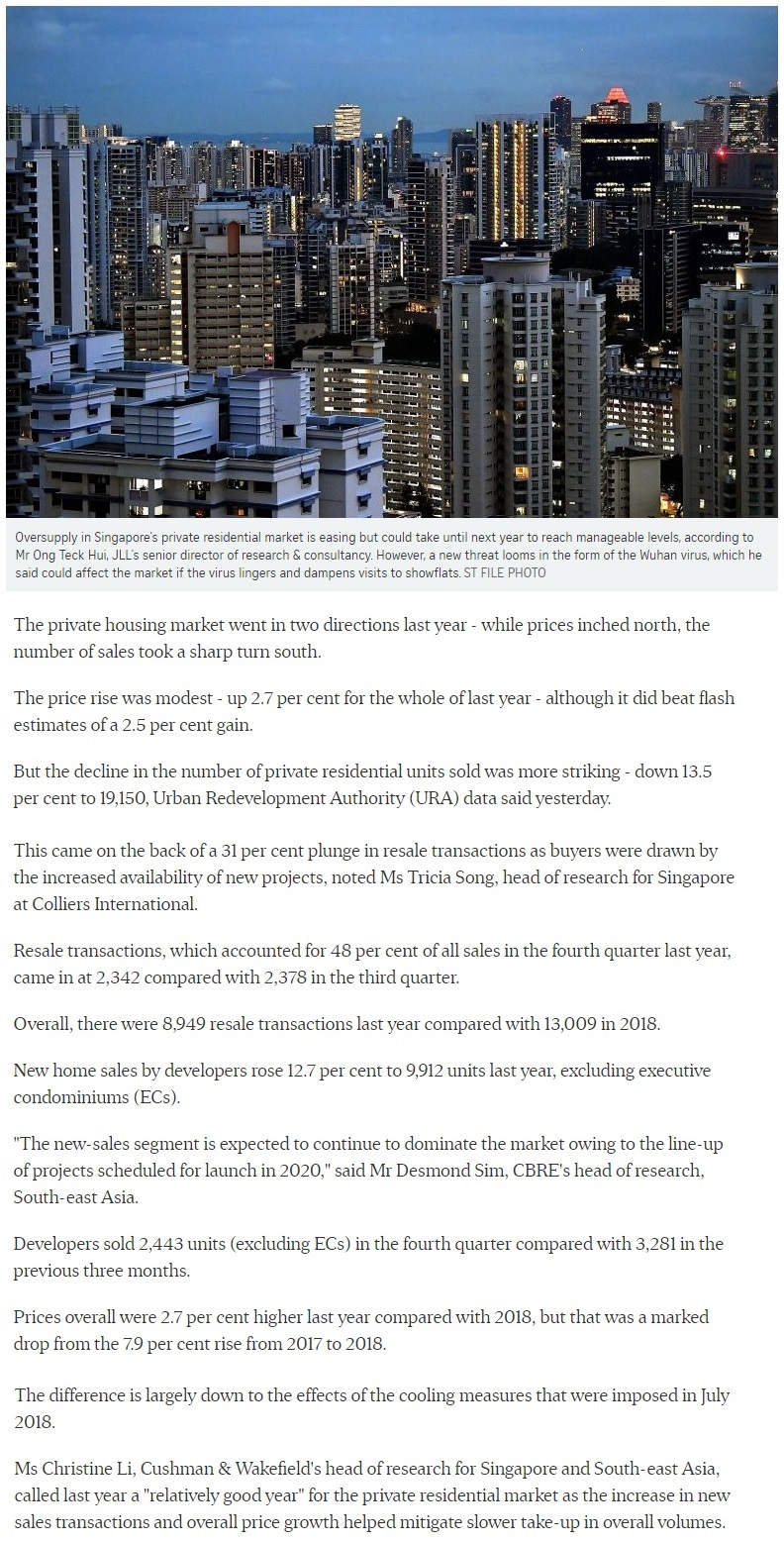 Midtown Modern - Singapore private home prices inch up 2.7% for 2019 Part 1