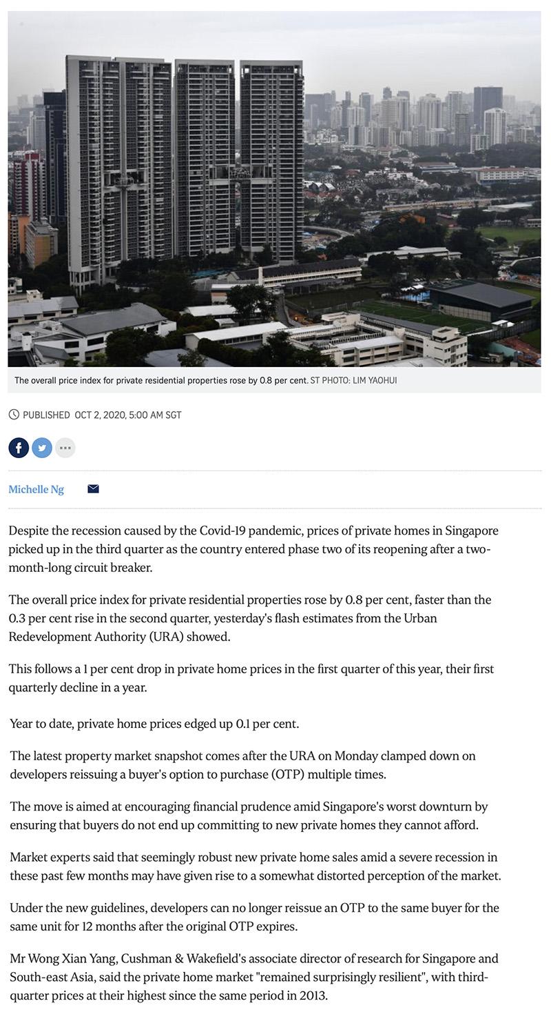 Midtown Modern - Private home prices rise faster in Q3 despite Covid-19 recession 1